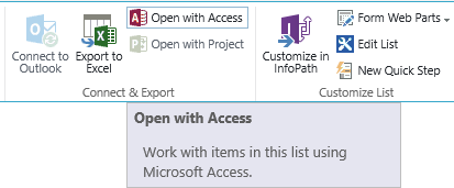 Open with Access on the Ribbon
